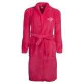 Ladies Pink Raspberry Plush Microfleece Shawl Collar Robe-Diplomats Official Logo