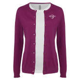 Ladies Deep Berry Cardigan-Diplomats Official Logo