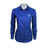 Ladies Royal Twill Button Down Long Sleeve-Football