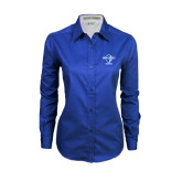 Ladies Royal Twill Button Down Long Sleeve-Swimming