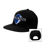 Black Flat Bill Snapback Hat-Diplomats Official Logo
