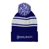 Royal/White Two Tone Knit Pom Beanie with Cuff-Diplomats Flat Logo
