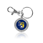 Crystal Studded Round Key Chain-Primary Athletics Mark