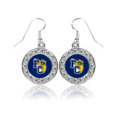 Crystal Studded Round Pendant Silver Dangle Earrings-Primary Athletics Mark