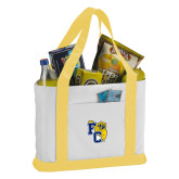 Contender White/Gold Canvas Tote-Primary Athletics Mark