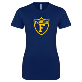 Next Level Ladies SoftStyle Junior Fitted Navy Tee-Football Shield