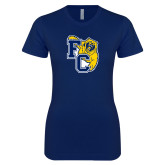 Next Level Ladies SoftStyle Junior Fitted Navy Tee-Primary Athletics Mark