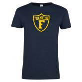 Ladies Navy T Shirt-Football Shield