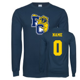 Navy Long Sleeve T Shirt-Primary Athletics Mark, Custom Tee w/ Name and #