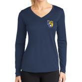 Ladies Syntrel Performance Navy Longsleeve Shirt-Primary Athletics Mark