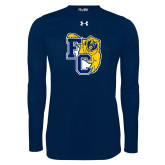 Under Armour Navy Long Sleeve Tech Tee-Primary Athletics Mark