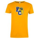Ladies Gold T Shirt-Primary Athletics Mark