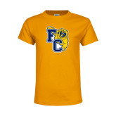 Youth Gold T Shirt-Primary Athletics Mark