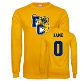 Gold Long Sleeve T Shirt-Primary Athletics Mark, Custom Tee w/ Name and #