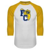 White/Gold Raglan Baseball T Shirt-Primary Athletics Mark