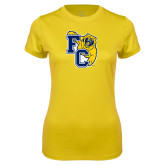 Ladies Syntrel Performance Gold Tee-Primary Athletics Mark