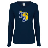 Ladies Navy Long Sleeve V Neck T Shirt-Primary Athletics Mark