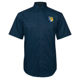 Navy Twill Button Down Short Sleeve-Primary Athletics Mark