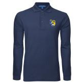 Navy Long Sleeve Polo-Primary Athletics Mark
