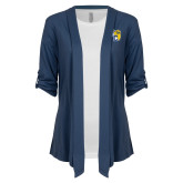 Ladies Navy Drape Front Cardigan-Primary Athletics Mark
