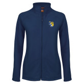 Ladies Fleece Full Zip Navy Jacket-Primary Athletics Mark
