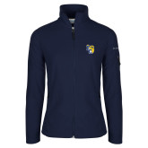 Columbia Ladies Full Zip Navy Fleece Jacket-Primary Athletics Mark