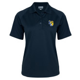 Ladies Navy Textured Saddle Shoulder Polo-Primary Athletics Mark