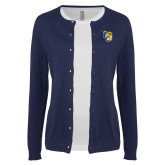 Ladies Navy Cardigan-Primary Athletics Mark