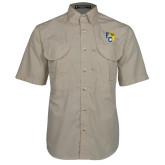 Khaki Short Sleeve Performance Fishing Shirt-Primary Athletics Mark