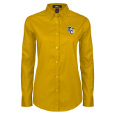 Ladies Gold Twill Button Down Long Sleeve-Primary Athletics Mark