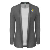 Ladies Heather Grey Open Front Cardigan-Primary Athletics Mark