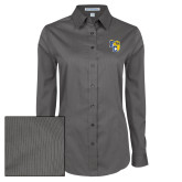 Ladies Grey Tonal Pattern Long Sleeve Shirt-Primary Athletics Mark