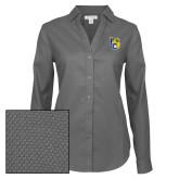 Ladies Red House Diamond Dobby Charcoal Long Sleeve Shirt-Primary Athletics Mark