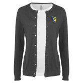 Ladies Charcoal Cardigan-Primary Athletics Mark