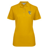 Ladies Easycare Gold Pique Polo-Primary Athletics Mark