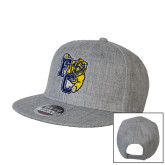 Heather Grey Wool Blend Flat Bill Snapback Hat-Primary Athletics Mark