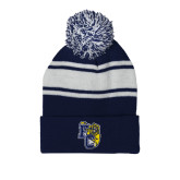 Navy/White Two Tone Knit Pom Beanie w/Cuff-Primary Athletics Mark