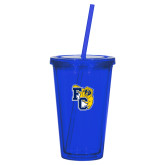 Madison Double Wall Blue Tumbler w/Straw 16oz-Primary Athletics Mark