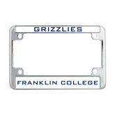 Metal Motorcycle License Plate Frame in Chrome-Grizzlies
