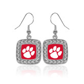 Crystal Studded Square Pendant Silver Dangle Earrings-Paw Print
