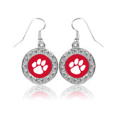 Crystal Studded Round Pendant Silver Dangle Earrings-Paw Print
