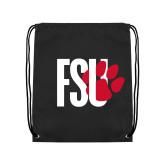 Black Drawstring Backpack-FSU Primary Logo