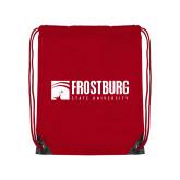 Red Drawstring Backpack-Frostburg State University Logo