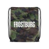 Camo Drawstring Backpack-Frostburg State Wordmark Logo