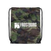 Camo Drawstring Backpack-Frostburg State University Logo