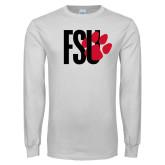 White Long Sleeve T Shirt-FSU Primary Logo