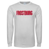 White Long Sleeve T Shirt-Frostburg State Wordmark Logo