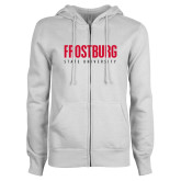 ENZA Ladies White Fleece Full Zip Hoodie-Frostburg State University