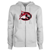 ENZA Ladies White Fleece Full Zip Hoodie-Bobcat logo