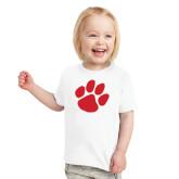 Toddler White T Shirt-Paw Print